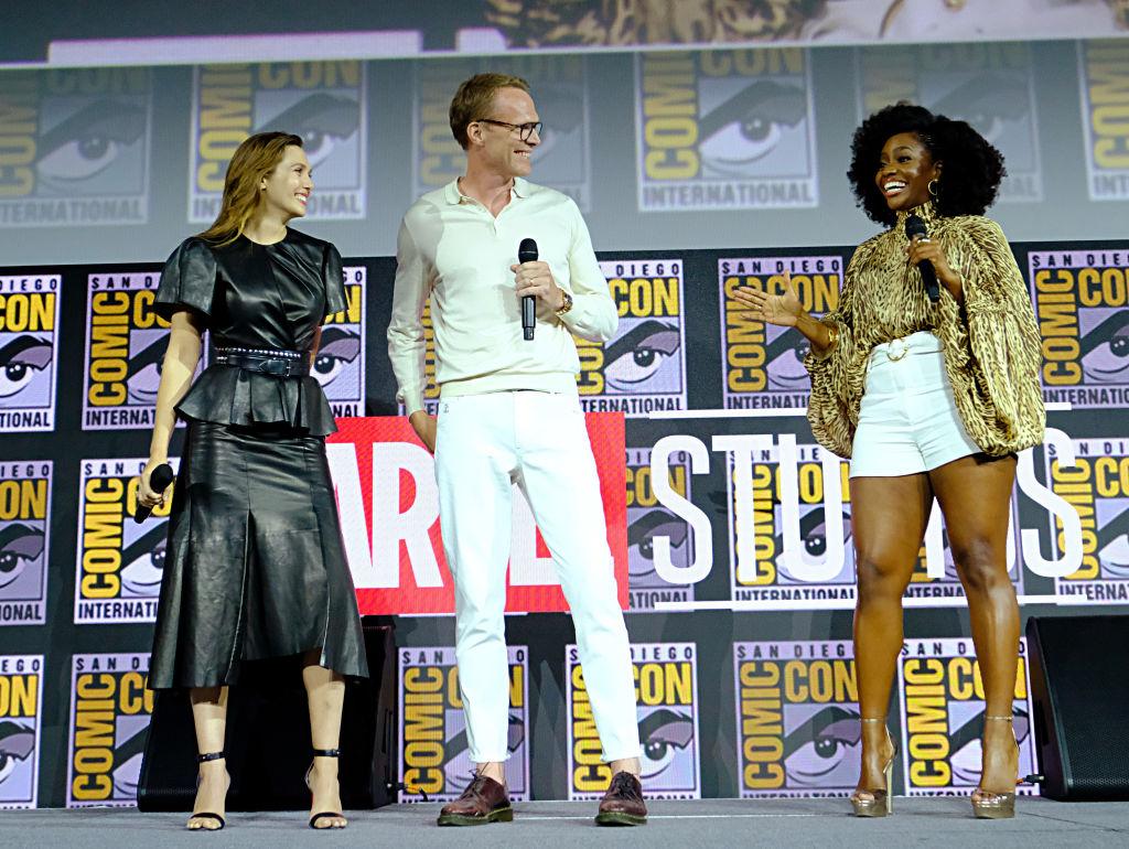 Elizabeth Olsen, Paul Bettany and Teyonah Parris of Marvel Studios' 'WandaVision' MCU