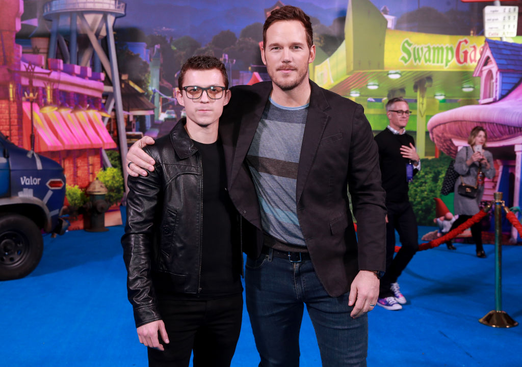 "Tom Holland and Chris Pratt attend the Premiere of Disney and Pixar's ""Onward"""