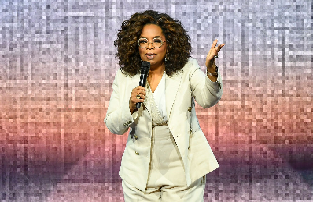 Oprah Winfrey onstage during Oprah's 2020 Vision: Your Life in Focus Tour in February 2020
