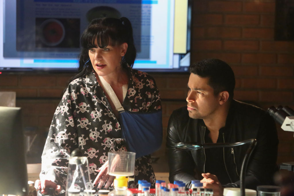 Pauley Perrette and Wilmer Valderrama on the set of 'NCIS'
