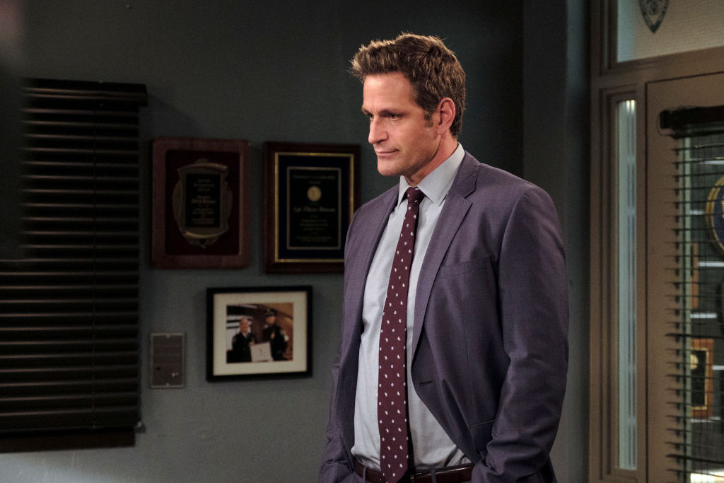 Peter Hermann on the set of Law and Order SVU