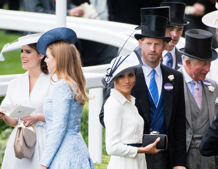 Pricess Eugenie, Princess Beatrice, Meghan Markle, Prince Harry, and Prince Charles