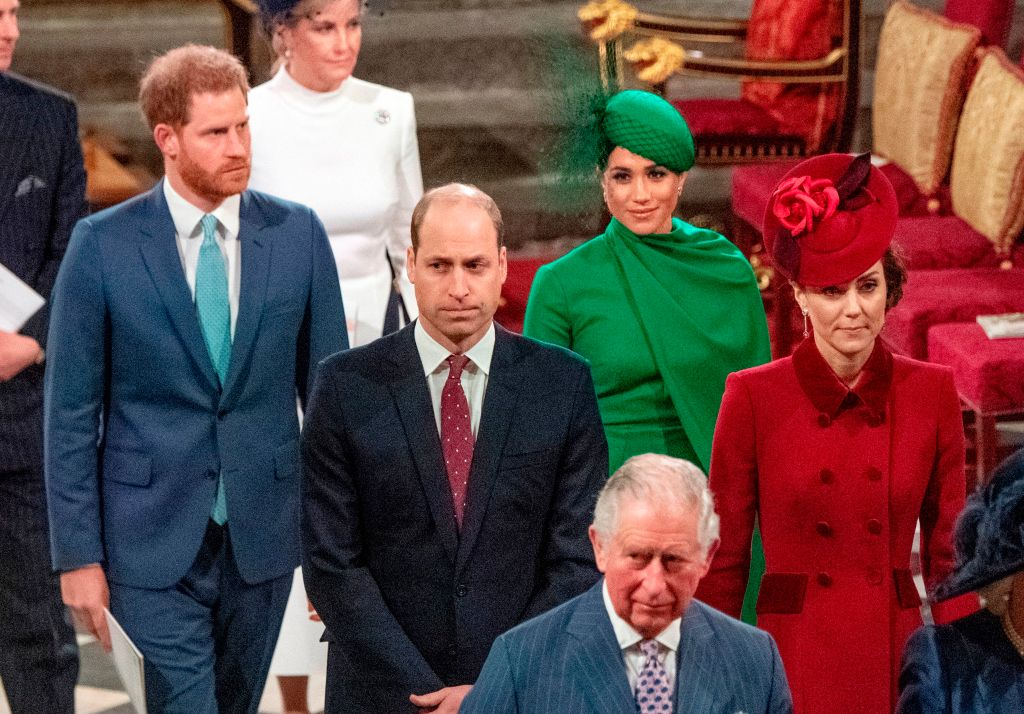 Prince Harry, Meghan, Duchess of Sussex, Prince William, and Catherine, Duchess of Cambridge as they depart Westminster Abbey after attending the annual Commonwealth Service in London