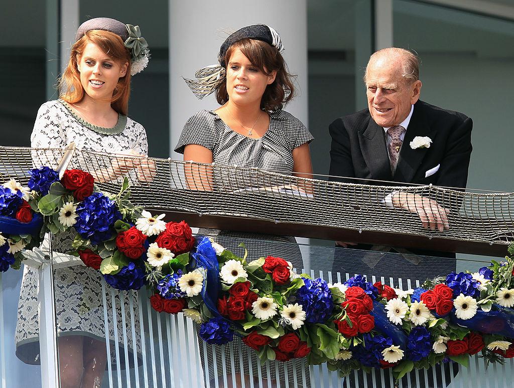 Princess Beatrice, Princess Eugenie, and Prince Philip