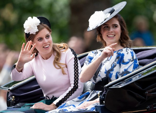 Princess Beatrice of York and Princess Eugenie of York during Trooping The Colour on June 8, 2019
