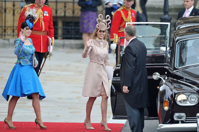 Princess Eugenie of York and Princess Beatrice of York at the royal wedding of Prince William, Duke of Cambridge and Catherine, Duchess of Cambridge on April 29, 2011