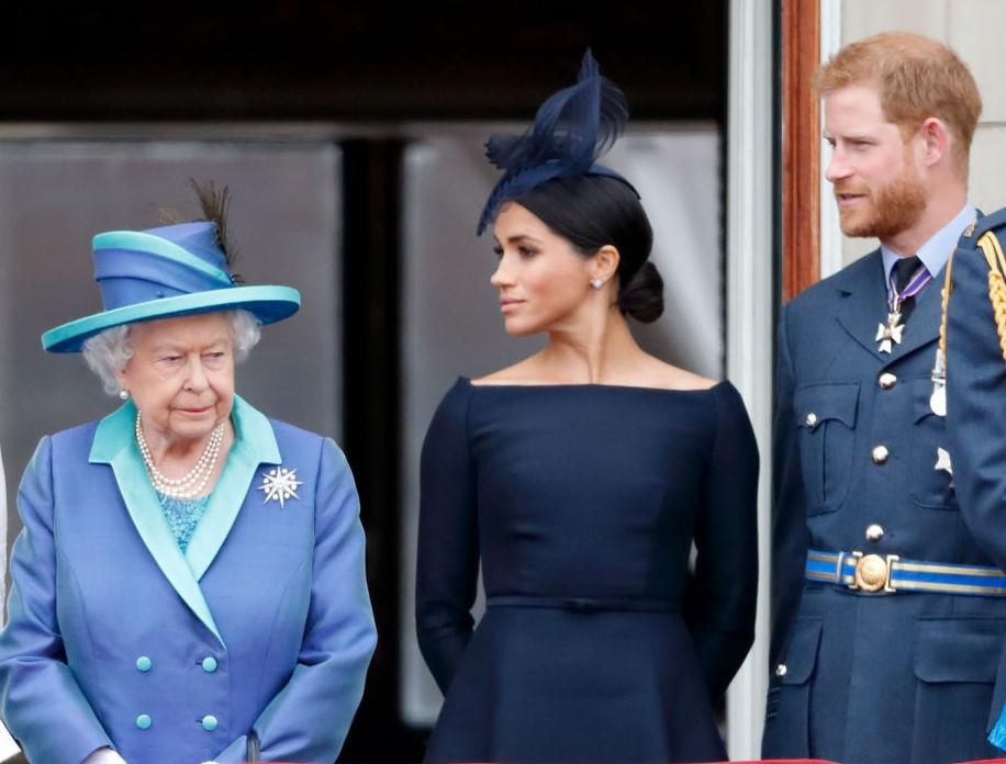 Queen Elizabeth II, Meghan Markle, and Prince Harry