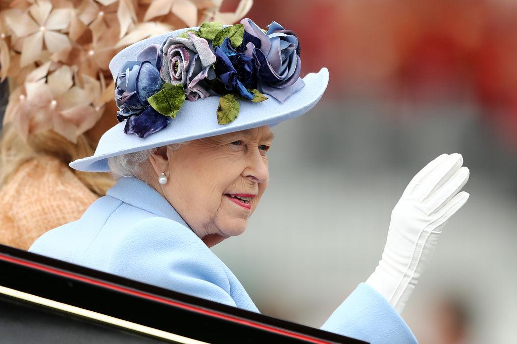 Queen Elizabeth II wearing white gloves