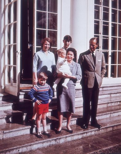 Queen Elizabeth II and Prince Philip with their children, Prince Charles, Princess Anne, Prince Andrew and little Prince Edward