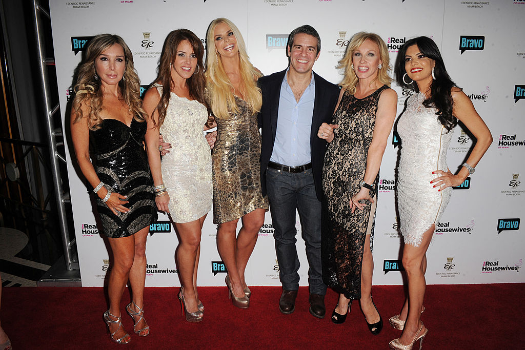 Marysol Patton, Chrisy Rice, Alexia Echevarria, Andy Cohen, Lea Black and Adrianna De Moura attend The Real Housewives of Miami Premiere Party