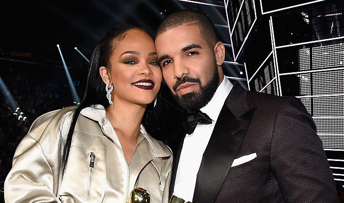 Rihanna and Drake at an award show in August 2016