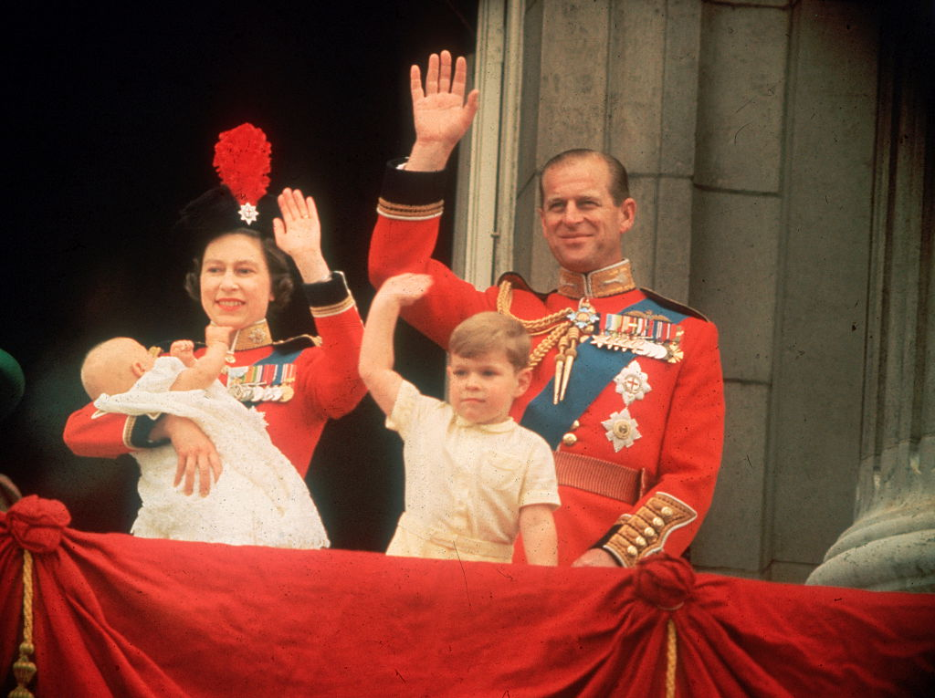 Queen Elizabeth, Prince Philip, Prince Andrew, and Prince Edward