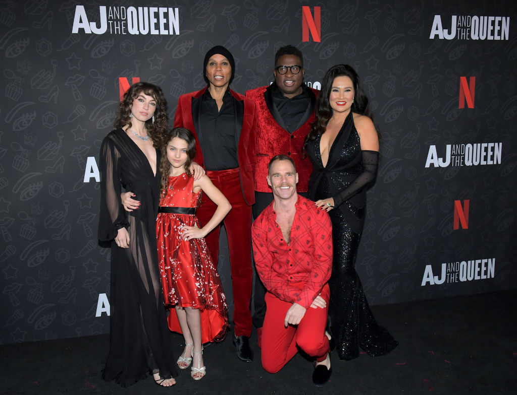 Katerina Tannenbaum, Izzy G., RuPaul, Michael-Leon Wooley, Matthew Wilkas, and Tia Carrere attend Netflix's 'AJ and the Queen' Season One Premiere