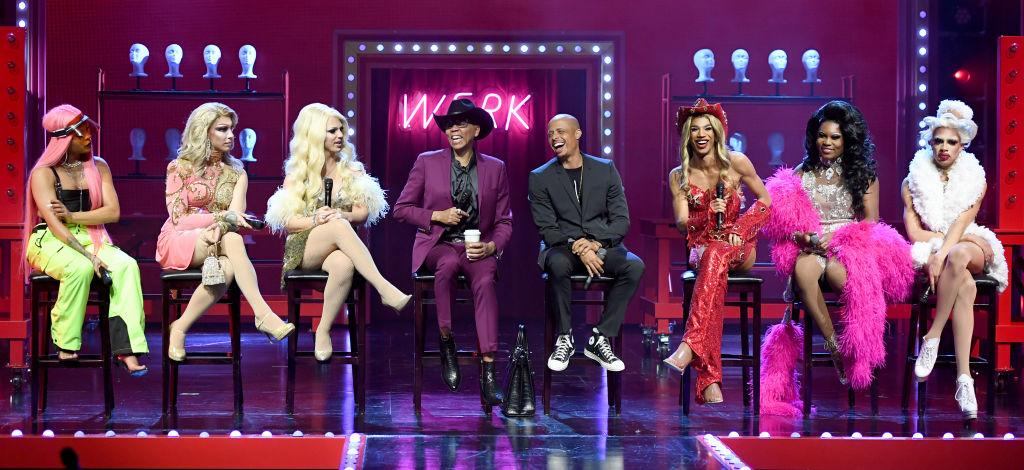 Cast members and RuPaul speak onstage during 'RuPaul's Drag Race Live!'