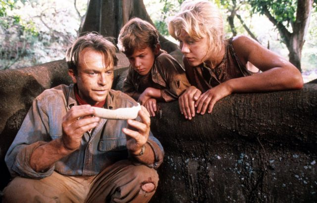 Sam Neill, Joseph Mazzello, and Ariana Richards in 'Jurassic Park'