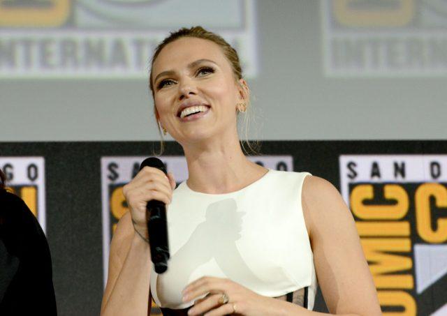 Scarlett Johansson at 2019 Comic-Con International speaking at the Marvel Studios Panel on July 20, 2019
