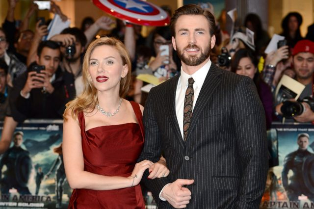 Scarlett Johansson and Chris Evans on March 20, 2014, at the premiere of 'Captain America: The Winter Soldier'