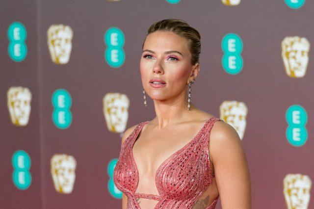 Scarlett Johansson attends the BAFTA Film Awards in London, England, on Feb. 2, 2020