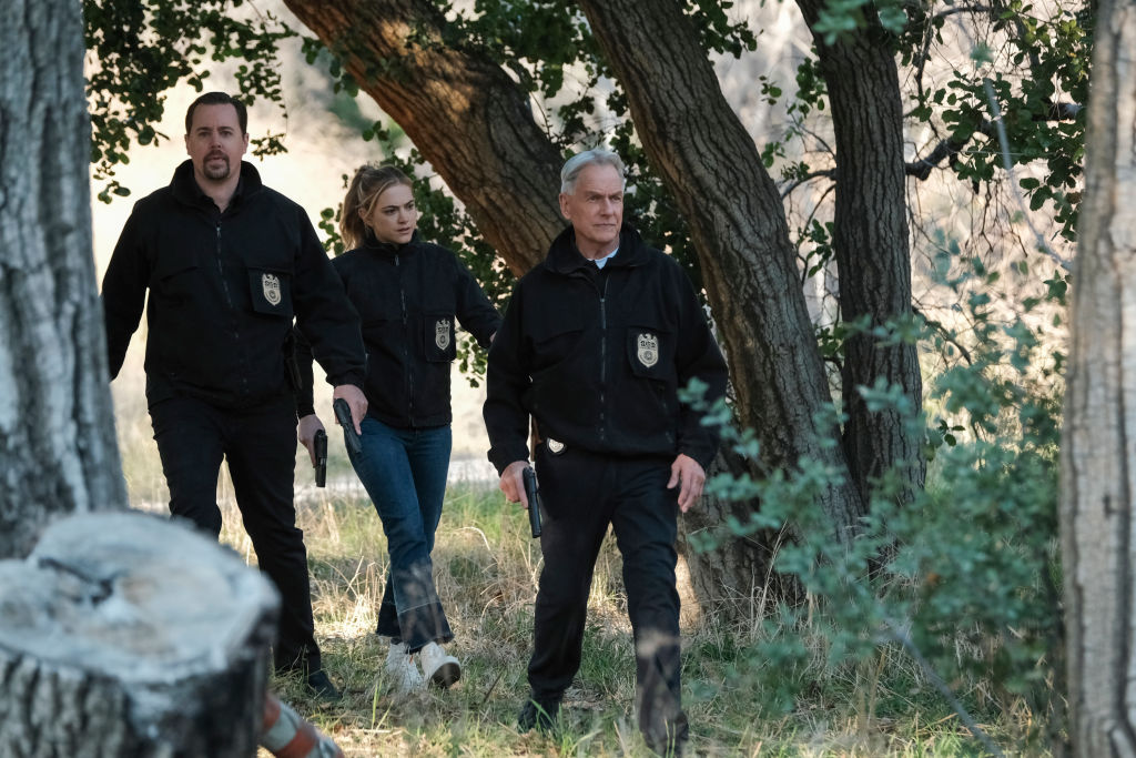 Sean Murray, Emily Wickersham, and Mark Harmon on NCIS   Eddy Chen/CBS via Getty Images