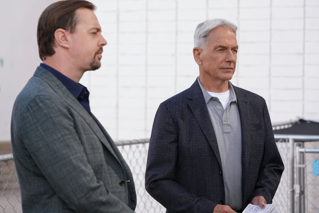Sean Murray and Mark Harmon on the set of 'NCIS'