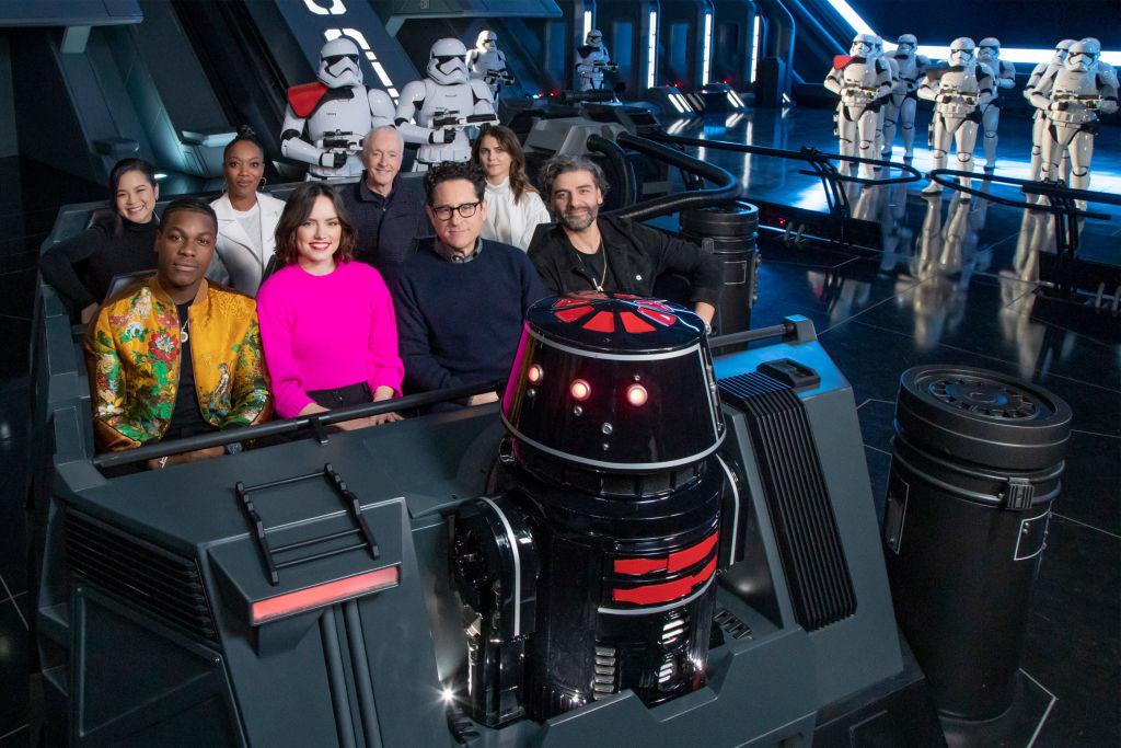 John Boyega, Daisy Ridley, director J.J. Abrams, Oscar Isaac, Kelly Marie Tran, Naomi Ackie, Anthony Daniels and Keri Russell of 'The Rise of Skywalker'