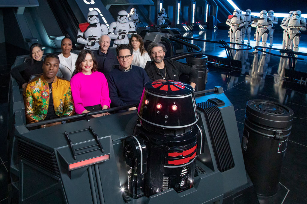 John Boyega, Daisy Ridley, director J.J. Abrams, Oscar Isaac, Kelly Marie Tran, Naomi Ackie, Anthony Daniels and Keri Russell of 'The Rise of Skywalker'