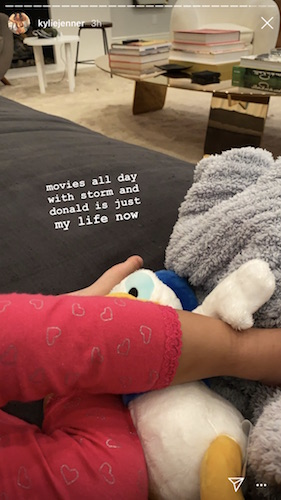 Kylie Jenner and Stormi are watching movies.