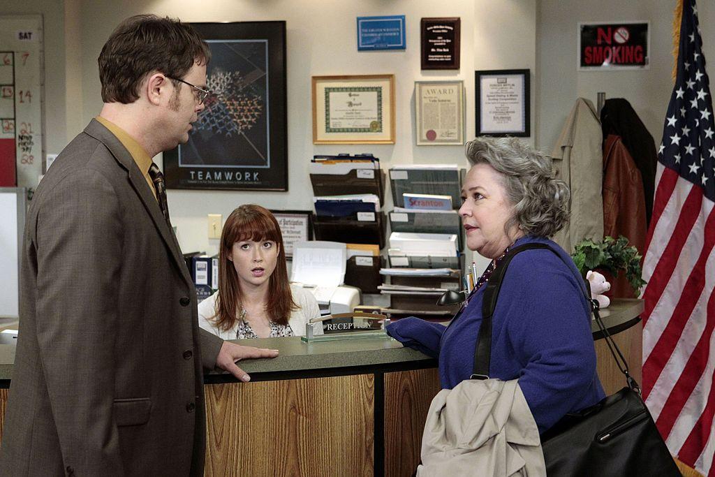 Rainn Wilson as Dwight Schrute, Ellie Kemper as Kelly Erin Hannon, Kathy Bates as Jo Bennett