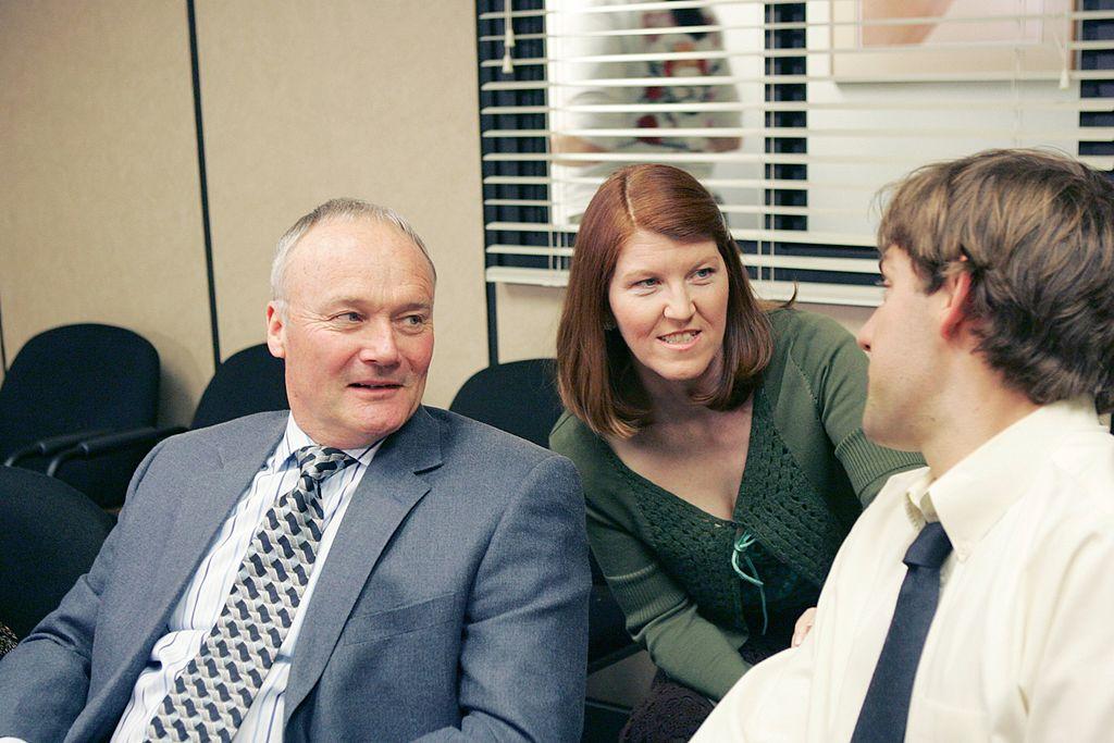 Creed Bratton as Creed Bratton, Kate Flannery as Meredith Palmer and John Krasinski as Jim Halpert on 'The Office'
