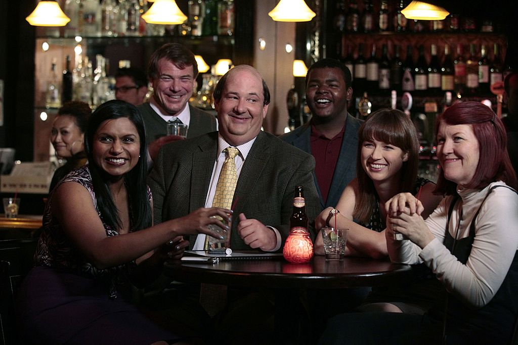 Mindy Kaling as Kelly Kapoor, Brian Baumgartner as Kevin Malone, Ellie Kemper as Kelly Erin Hannon, Kate Flannery as Meredith Palmer