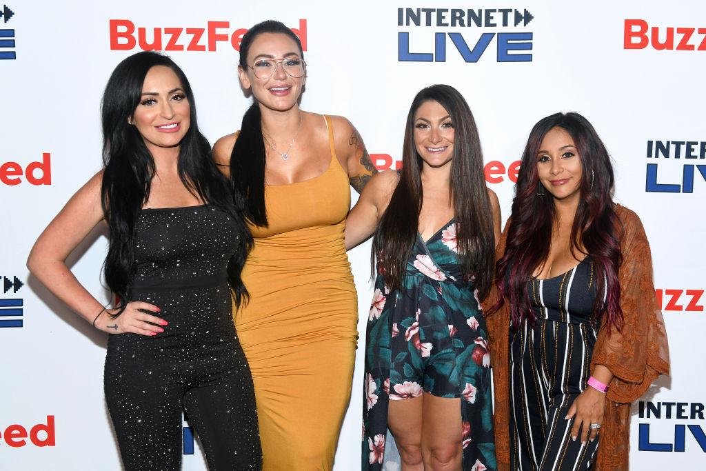 Angelina Pivarnick, Jenni 'JWoww' Farley, Deena Cortese, and Nicole 'Snooki' Polizzi at an event in July 2019
