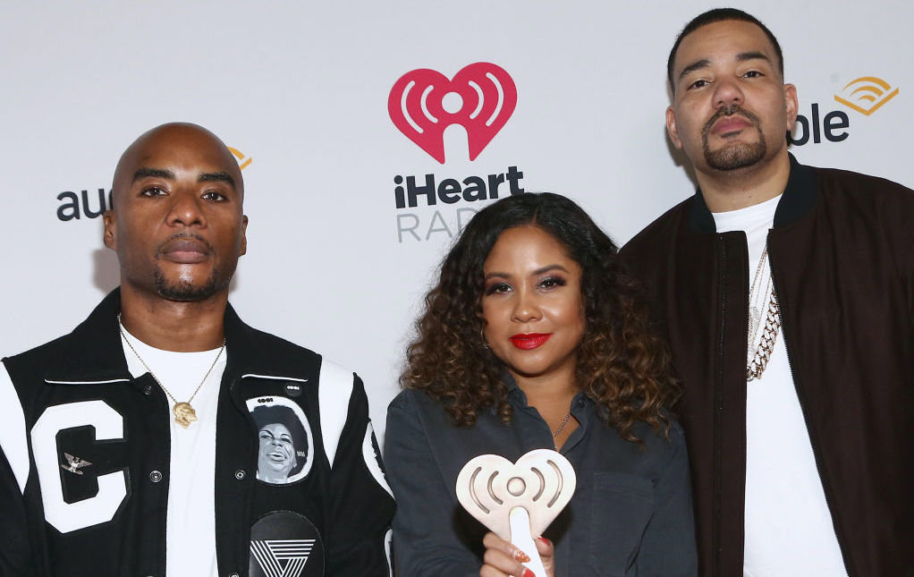 Charlamagne Tha God, Angela Yee, and DJ Envy at an award show in January 2020