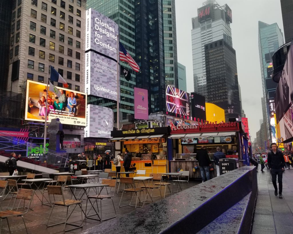 Street scene on a rainy day in Times Square