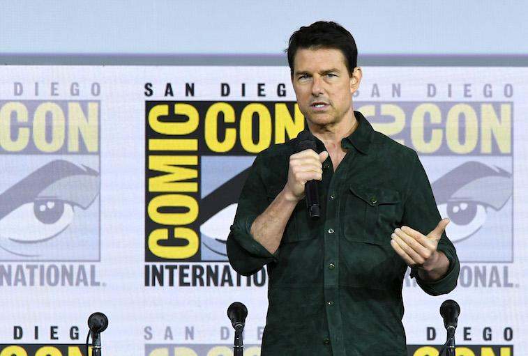Tom Cruise speaks onstage