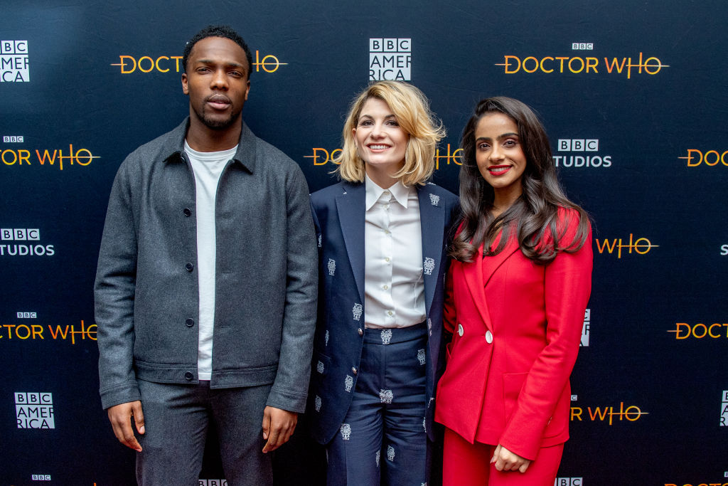 Tosin Cole, Jodie Whittaker, and Mandip Gill of the Doctor Who season 12 finale