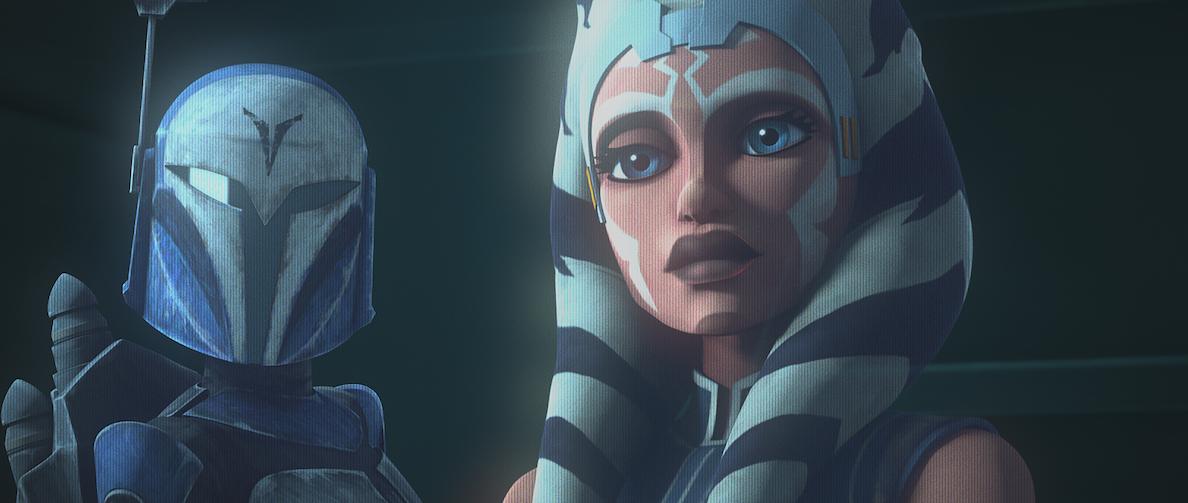 Bo-Katan and Ahsoka Tano in a hologram, 'The Clone Wars' Season 7