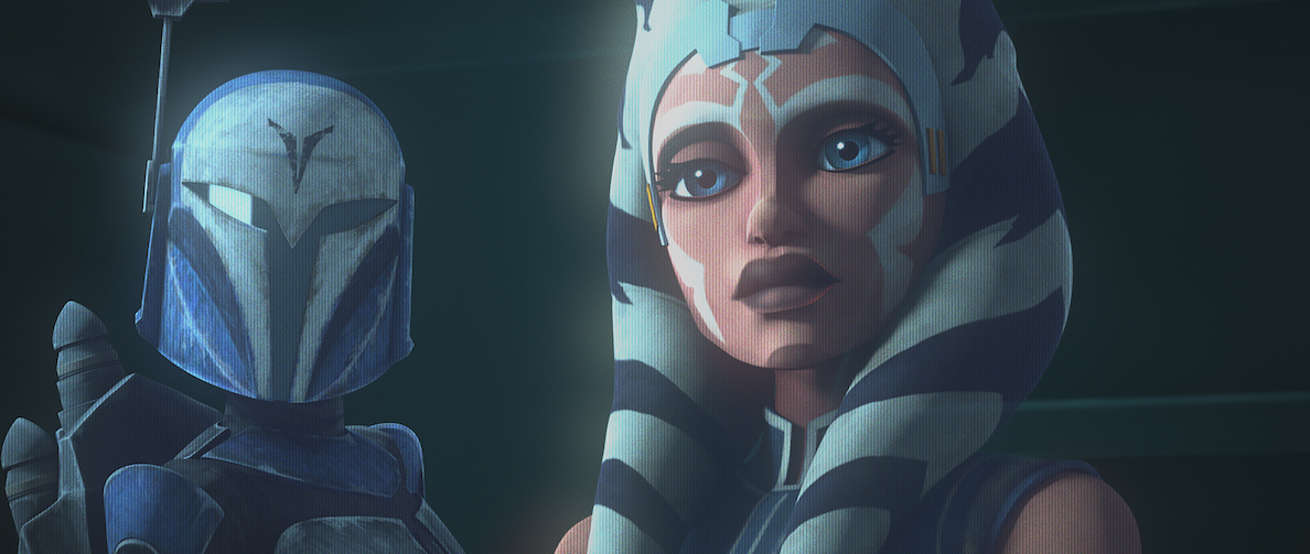 Bo-Katan and Ahsoka Tano in a hologram, 'The Clone Wars' Season 7