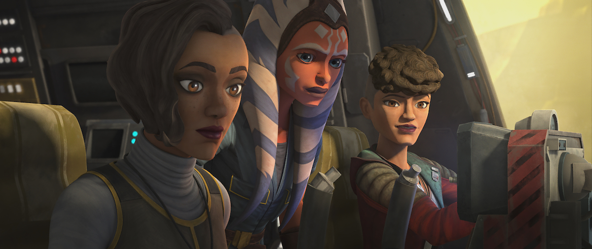 Ahsoka with the Martez sisters as they fly out of Coruscant in Episode 6 of 'The Clone Wars.'