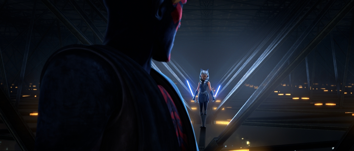 Ahsoka and Maul face off in a duel in 'The Clone Wars.'