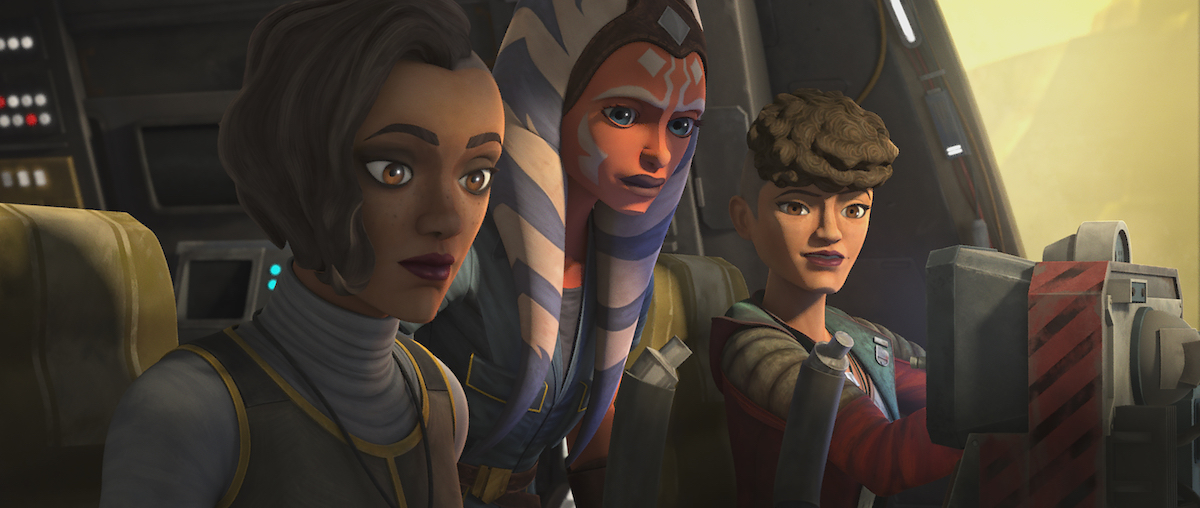 Ahsoka, Rafa, and Trace on their way to Kessel for a special pickup, 'The Clone Wars.'