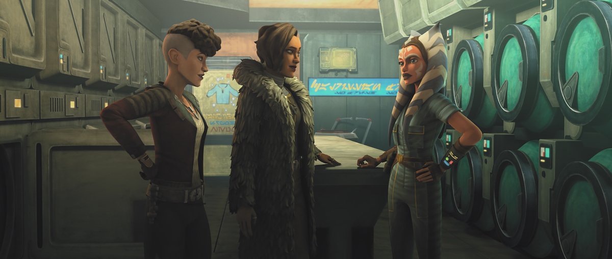"""Trace, Rafa, and Ahsoka in the Martez's """"laundromat"""" front in 'The Clone Wars.'"""