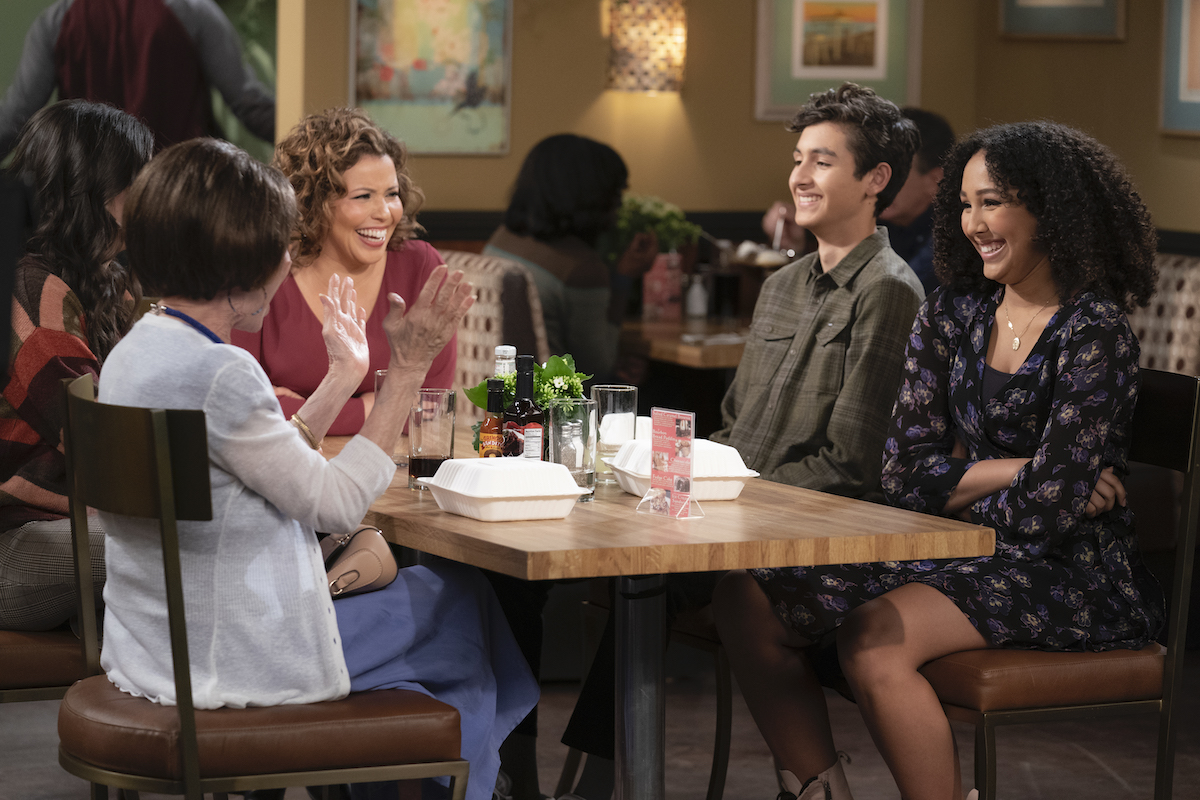 """Rita Moreno as Lydia, Justina Machado as Penelope, Marcel Ruiz as Alex and Raquel Justice as Nora in """"Penny Pinching,"""" Episode 2 'ONE DAY AT A TIME'"""
