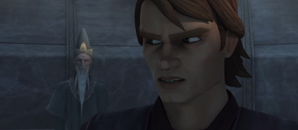 Anakin Skywalker talks with the Father on Mortis in 'The Clone Wars' Season 3.