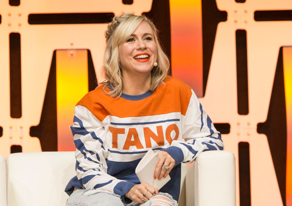 Ashley Eckstein speaking on a panel at Star Wars Celebration on April 11, 2019 in Chicago, Illinois.