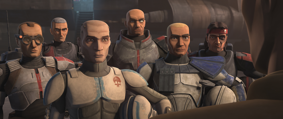 Echo and the Bad Batch say goodbye to Rex at the end of Episode 4, 'The Clone Wars.'