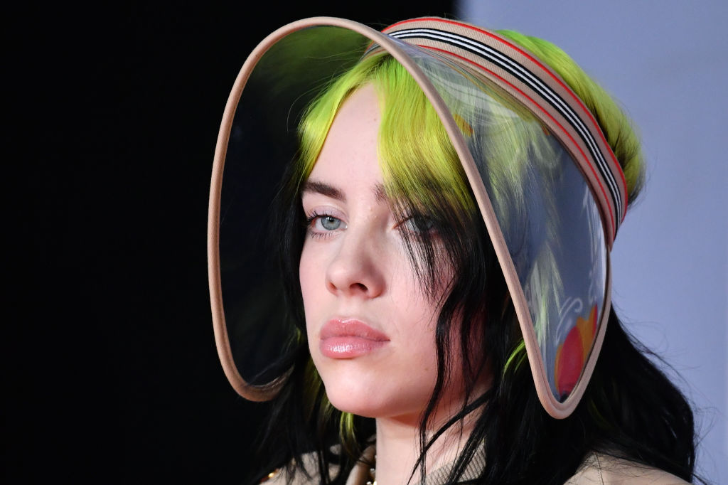 Billie Eilish on the red carpet at an award show in February 2020