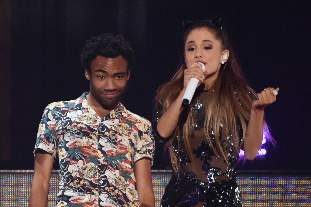 Childish Gambino and Ariana Grande perform during the 2014 iHeartRadio Music Festival