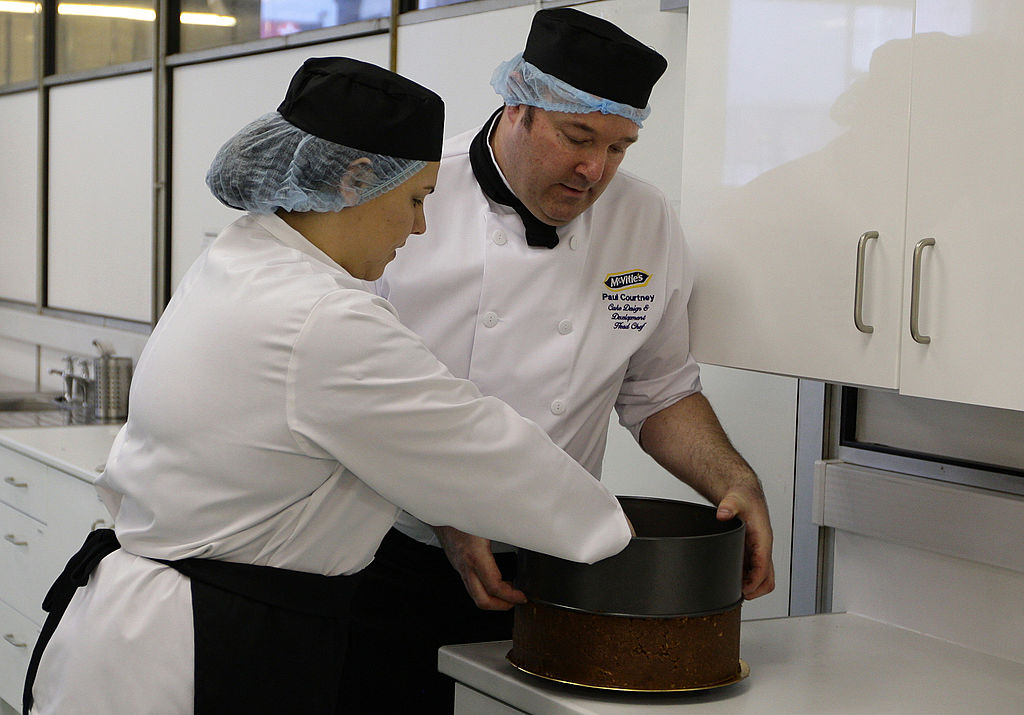 Chefs prepared chocolate biscuit cake