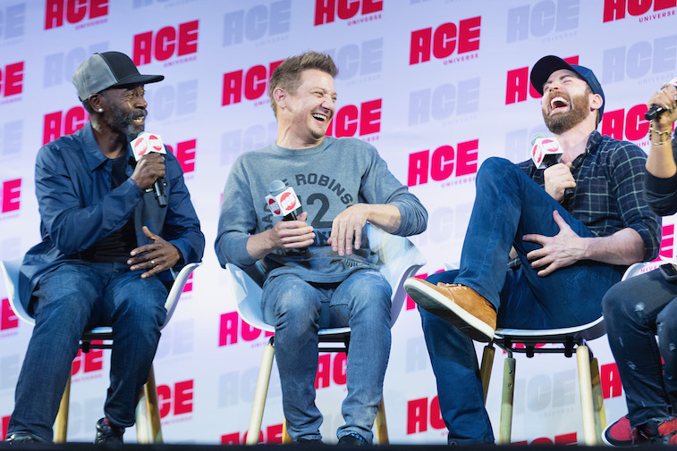 Don Cheadle, Jeremy Renner and Chris Evans
