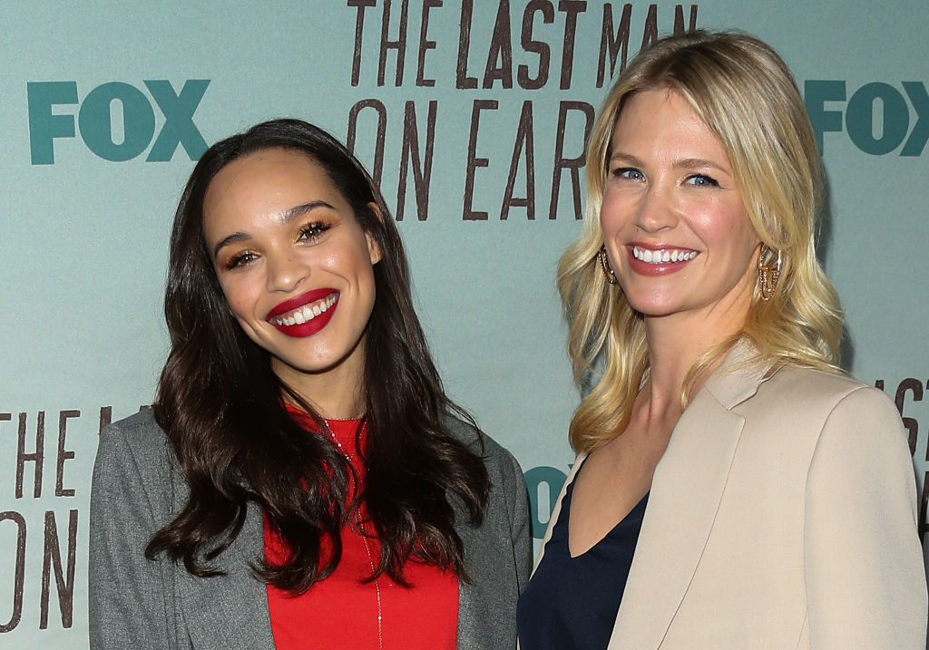 Cleopatra Coleman (L) and January Jones (R) attend the screening of FOX's 'The Last Man On Earth' on June 9, 2016